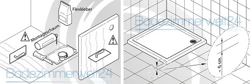 aquabad villa flat duschwanne duschtasse superstabil flach rechteck quadrat ebay