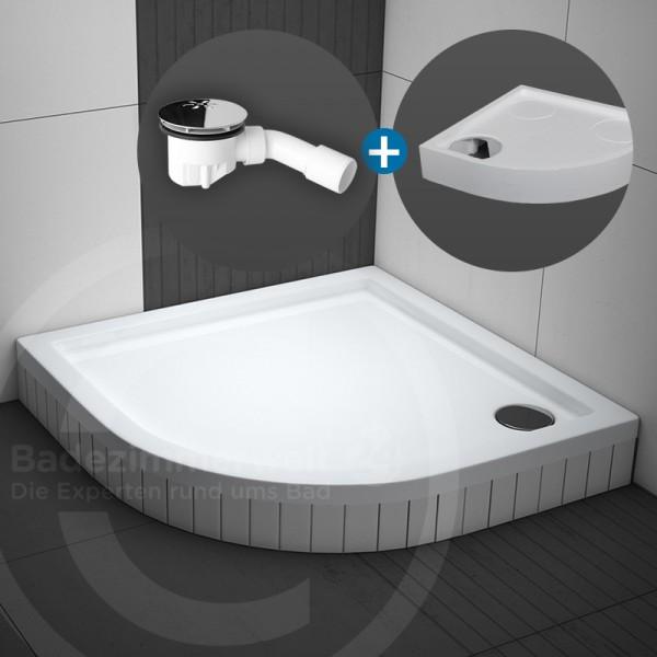 Aquabad® Basic Duschwanne Viertelkreis R55 SET inkl. Viega Ablaufgarnitur und Styroporträger