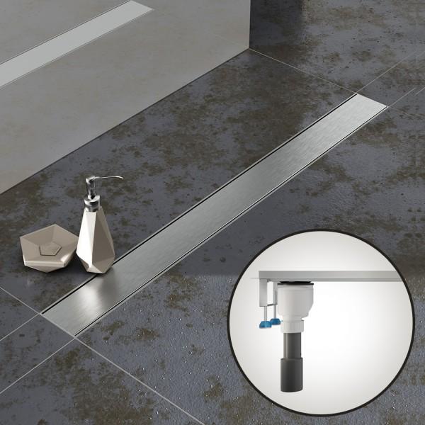 Komplettset Aquabad® SDS Pro Duschrinne, Viega senkrecht Ablauf seitlich, Haarsieb, Blende Bord