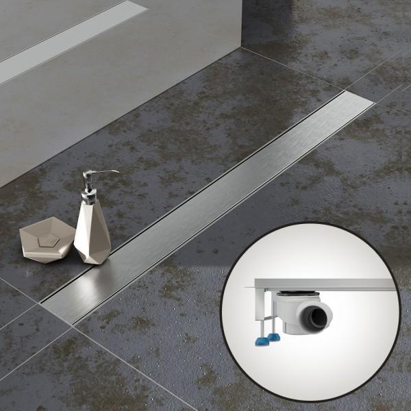 Komplettset Aquabad® SDS Pro Duschrinne, Viega waagerecht Ablauf seitlich, Haarsieb, Blende Bord