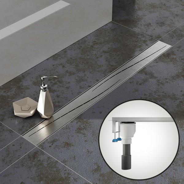 Komplettset Aquabad® SDS Pro Duschrinne, Viega senkrecht Ablauf seitlich, Haarsieb, Blende Modern