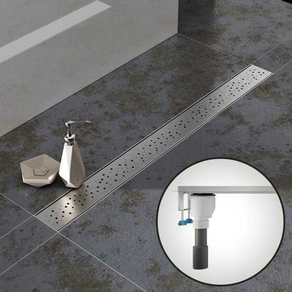 Komplettset Aquabad® SDS Pro Duschrinne, Viega senkrecht Ablauf seitlich, Haarsieb, Blende Regen
