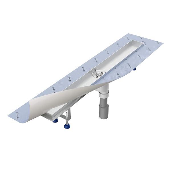 Duschrinnen-Grundkörper-SET Aquabad® SDS Pro, Viega Ablauf senkrecht, mittig, Haarsieb (ohne Blende)