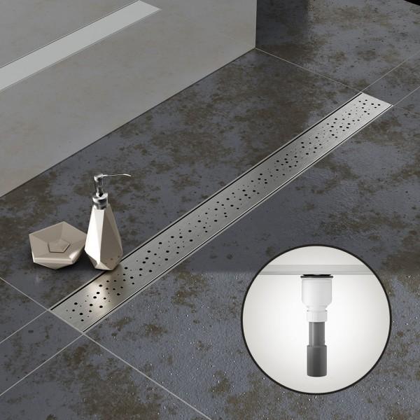 Komplettset Aquabad® SDS Pro Duschrinne, Viega Ablauf senkrecht, Haarsieb, Edelstahl Blende Regen