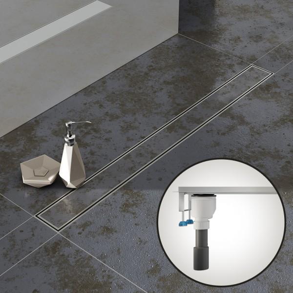 Komplettset Aquabad® SDS Pro Duschrinne, Viega senkrecht Ablauf seitlich, Haarsieb, befliesbar