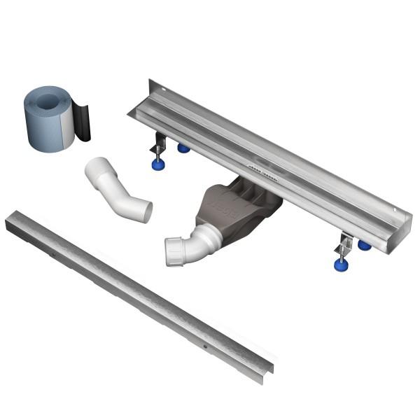 "Aquabad® Duschrinne Slim Pro Komplett Set inkl. Abdeckung""Slim-Bord"", Viega Siphon und Haarsieb"