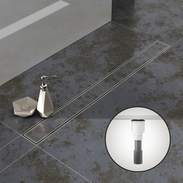 Komplettset Aquabad® SDS Pro Duschrinne, Viega Ablauf senkrecht, Haarsieb, befliesbare Mulde