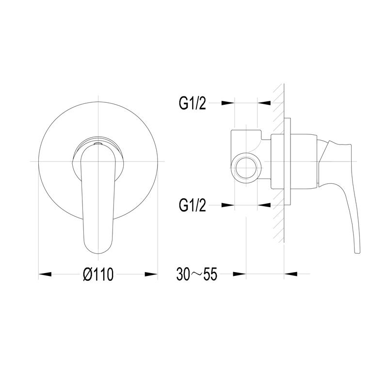 Art Deco Unterputz Einhebelmischer / Brausearmatur, Ausführung: Chrom