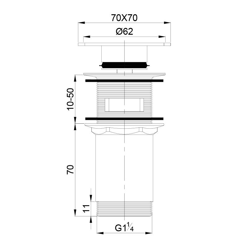 Universal Ablaufgarnitur POP UP Ventil für Waschtisch / Waschbecken mit quadrat. Deckel in Chrom