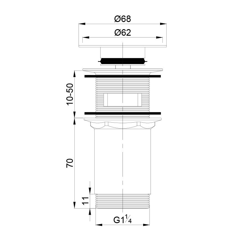 Universal Ablaufgarnitur POP UP Ventil für Waschtisch / Waschbecken mit geradem Deckel in Chrom