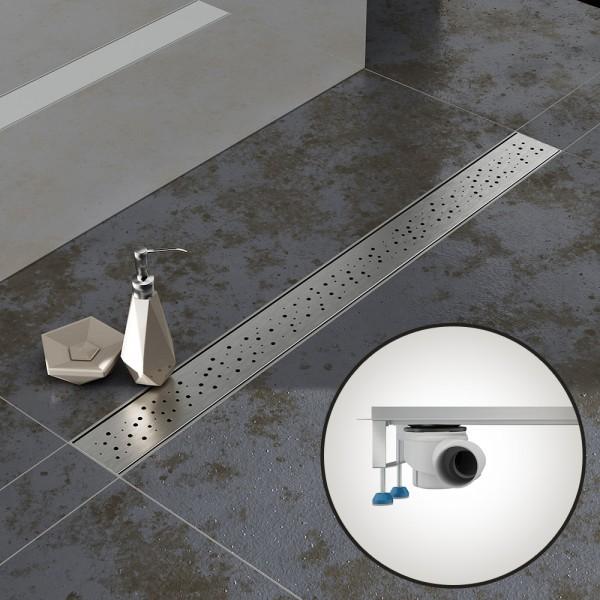 Komplettset Aquabad® SDS Pro Duschrinne, Viega waagerecht Ablauf seitlich, Haarsieb, Blende Regen
