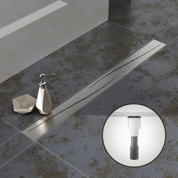 Komplettset Aquabad® SDS Pro Duschrinne, Viega Ablauf senkrecht, Haarsieb, Edelstahl Blende Modern