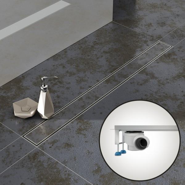 Komplettset Aquabad® SDS Pro Duschrinne, Viega waagerecht Ablauf seitlich, Haarsieb, befliesbar