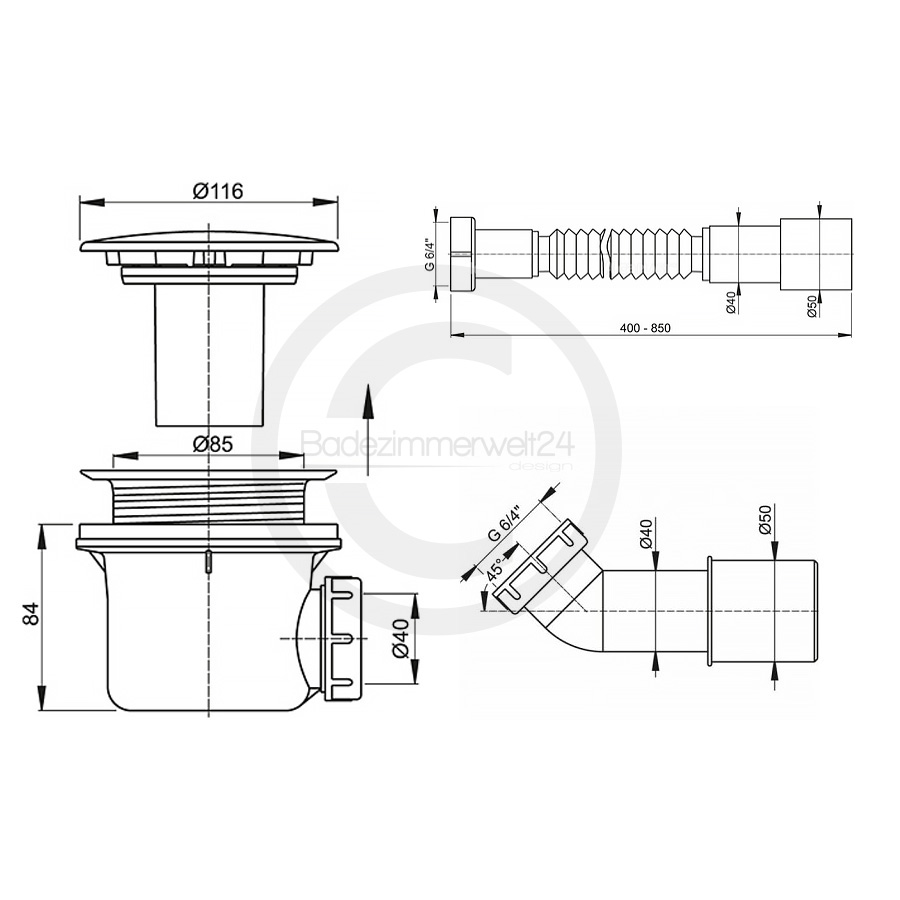 Aquabad® Trapflex Ablaufgarnitur für Duschtassen, Deckel Metall LUX, Geruchssperre inkl. Flexverbind