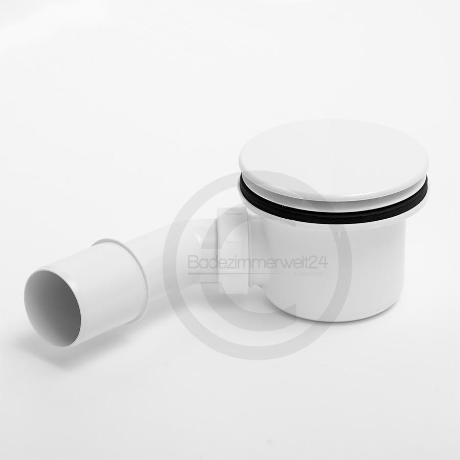Aquabad® Ablaufgarnitur für Duschtassen, Deckel weiss, Geruchssperre inkl. Flexverbindun