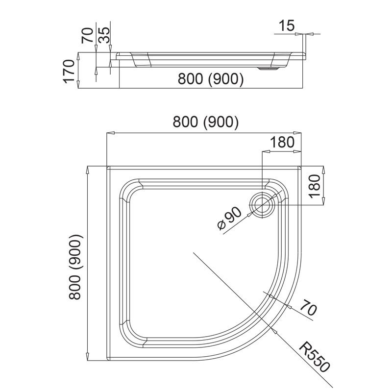 Aquabad® Comfort Forta Plus hohe Viertelkreis Duschtasse befliesbar oder mit Acrylschürze