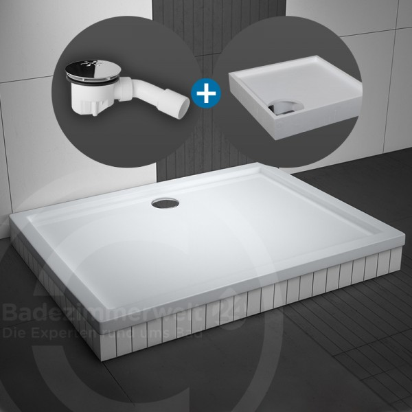 Aquabad® Basic Duschwanne rechteckig SET inkl. Viega Ablaufgarnitur und Styroporträger