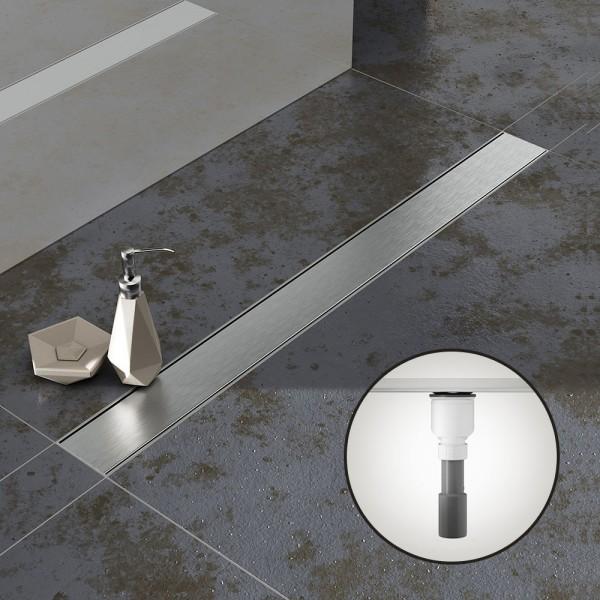 Komplettset Aquabad® SDS Pro Duschrinne, Viega Ablauf senkrecht, Haarsieb, Edelstahl Blende Bord
