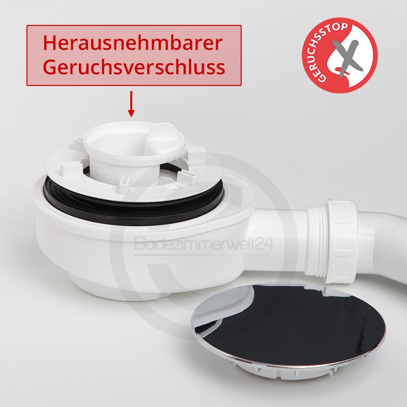 Aquabad® extraflache Ablaufgarnitur für Duschwannen inkl. Ablaufbogen und Flexanschluss