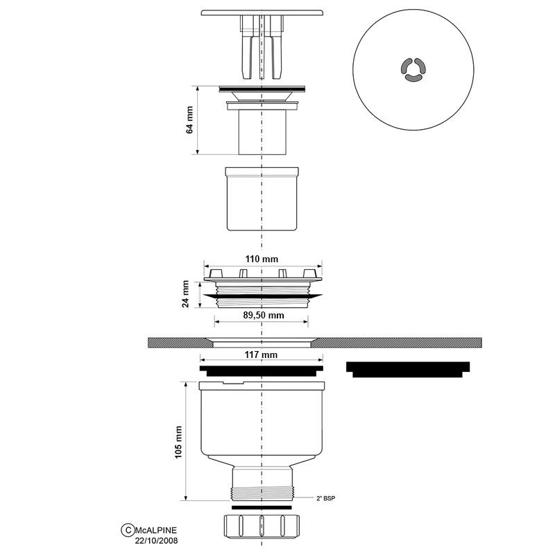 McAlpine senkrechte Ablaufgarnitur für Duschwannen 90mm
