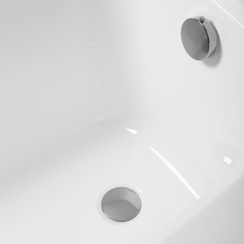 Badewanne Aquabad® SOLIDO, Komplettset inkl. Styroporträger und CGS-Ablauf in Chrom