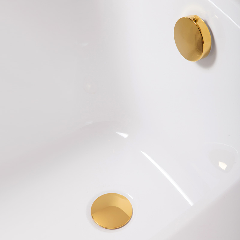 Badewanne Aquabad® PRIMO, 170x75 cm, Komplettset inkl. Träger und CGS-Ablauf PVD Gold