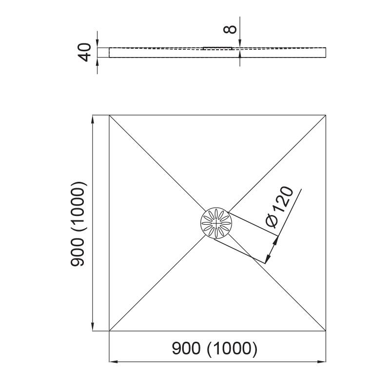 Komplettset - Aquabad® Comfort Luxe Flat quadratische Duschtasse mit Ablaufgarnitur und Träger
