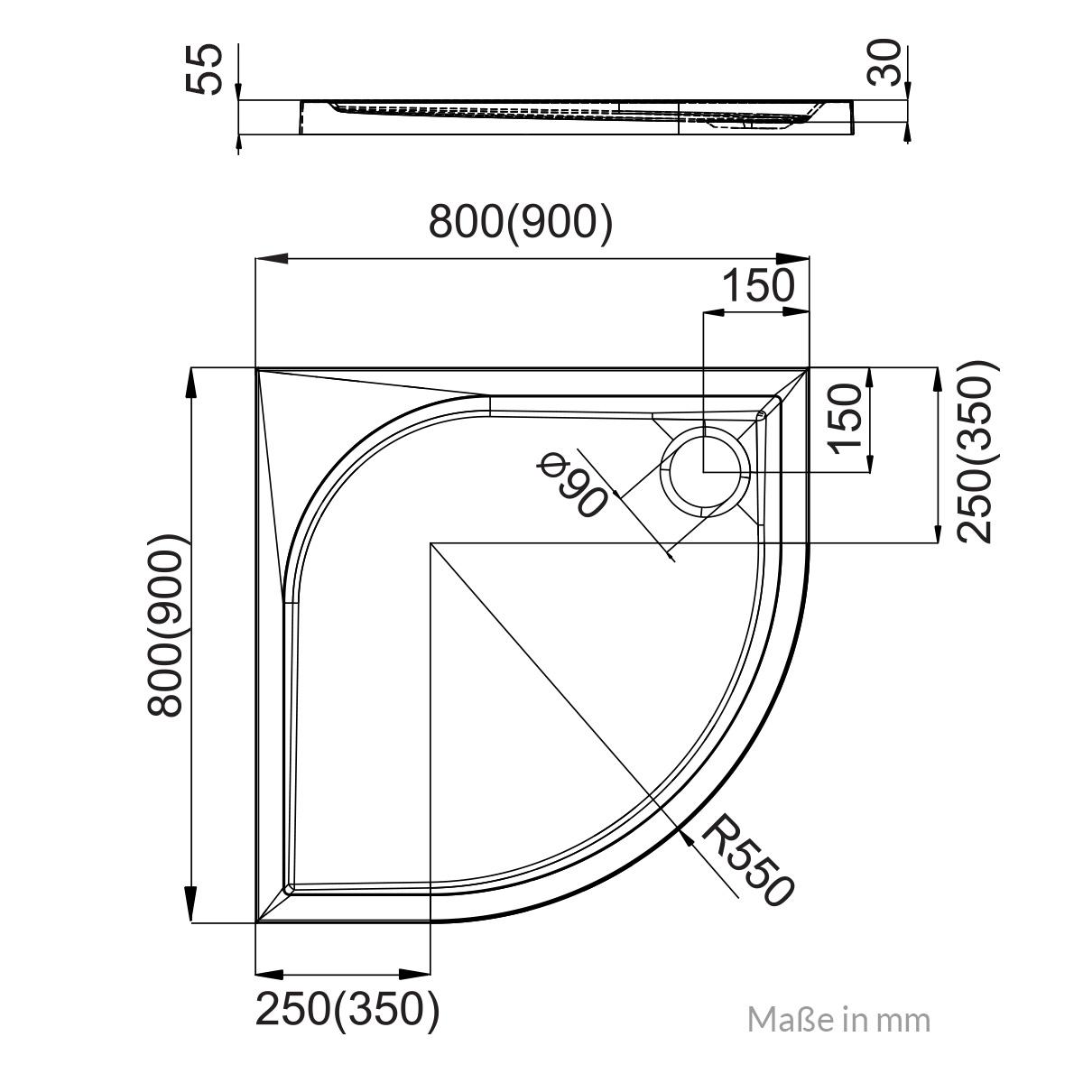 duschwanne viertelkreis aquabad 80 90 cm. Black Bedroom Furniture Sets. Home Design Ideas