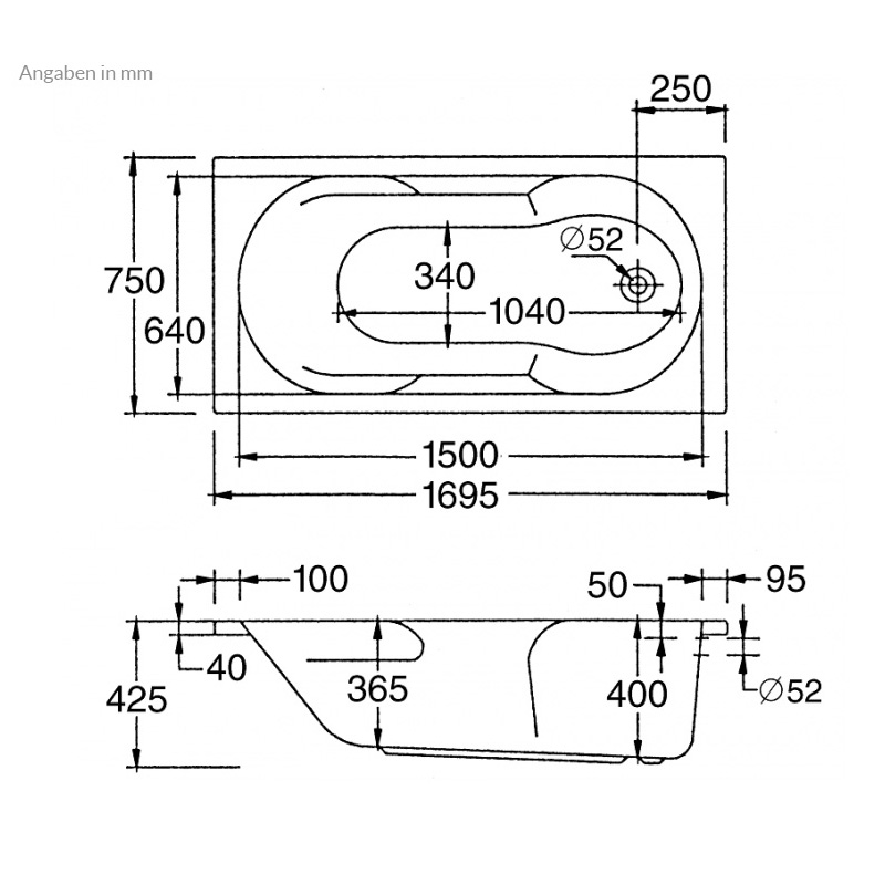 Badewanne Aquabad® PRIMO, 170x75 cm, inkl. Viega Simplex Ablauf und Träger Komplettset