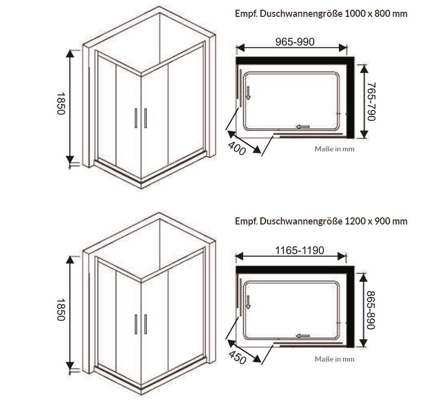 Duschkabine DK-Maxi Eckdusche mit Schiebetüren