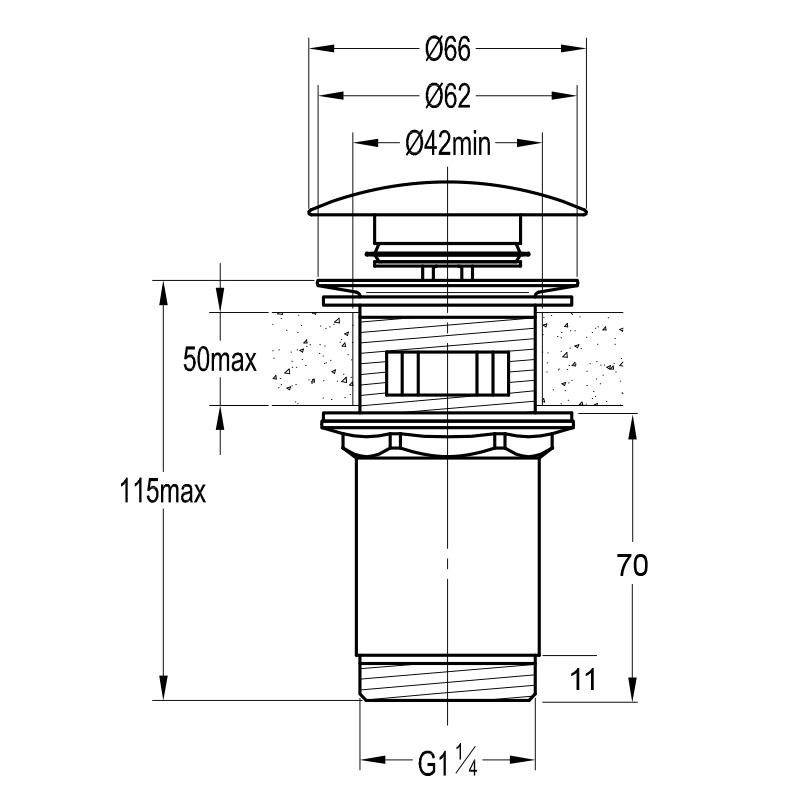 Universal Ablaufgarnitur PUSH UP Ventil für Waschtisch / Waschbecken mit PVD Goldbeschichtung
