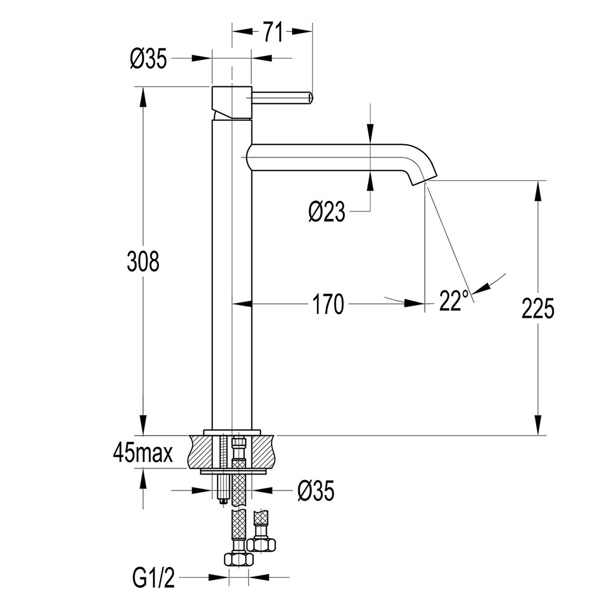 Einhebel-Waschtischarmatur, Spültischbatterie Y-Serie, Modell: Maxi