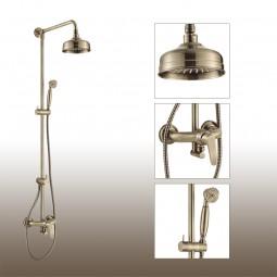 Art Deco Aufputz Duschsystem mit Einhebelmischer, Regenduschkopf, Handbrause, Antik-Bronze