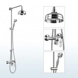 Art Deco Aufputz Duschsystem mit Einhebelmischer, Regenduschkopf, Handbrause, Ausführung: Chrom