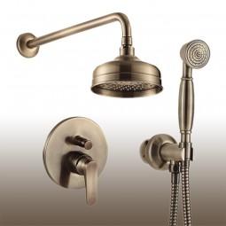 Art Deco Unterputz Duschset: Einhebelmischer mit Umsteller, Ausführung: antik-bronze