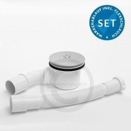 Aquabad® Trapflex Ablaufgarnitur für Duschtassen, Metall LUX Satin matt , Geruchssperre inkl. Flexve