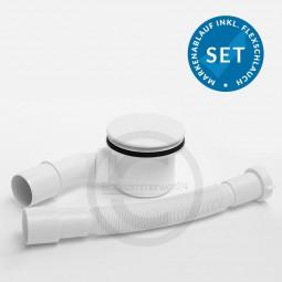 Aquabad® Trapflex Ablaufgarnitur für Duschtassen, Deckel weiss, Geruchssperre inkl. Flexverbindun