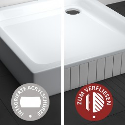 Aquabad® Comfort Forta Plus hohe quadratische Duschwanne befliesbar oder mit Acrylschürze
