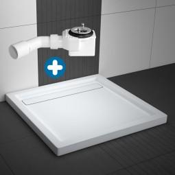 Aquabad® Comfort Linea Flat Quadratische Duschwanne mit Viega Ablauf