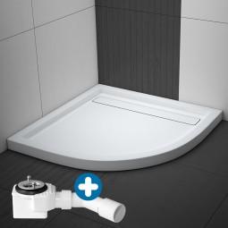 Aquabad® Comfort Linea Flat Viertelkreis Duschwanne Radius 55 cm inkl. Viega Domoplex Ablauf