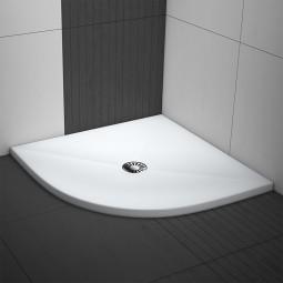 Komplettset - Aquabad® Comfort Luxe Flat viertelkreis Duschwanne mit Ablaufgarnitur und Träger