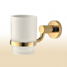 Mundspülglas mit vergoldetem (PVD) Halter, Serie: Modern