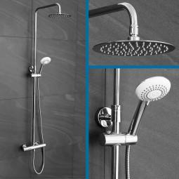 Duschsystem mit runder Regendusche und Thermostat - Komplettset