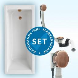 Badewanne Aquabad® SOLIDO, Komplettset inkl. Styroporträger und CGS-Ablauf in Bronze Antik