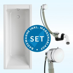 Badewanne Aquabad® SOLIDO, Komplettset inkl. Styroporträger und CGS-Ablauf mit Wannenbefüllung