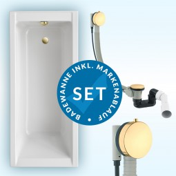 Badewanne Aquabad® SOLIDO, Komplettset inkl. Styroporträger und CGS-Ablauf PVD Gold