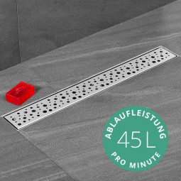 Aquabad® SteelLine Edelstahl Duschrinne mit Blende: Ringe inkl. Viega Domoplex Ablaufgarnitur
