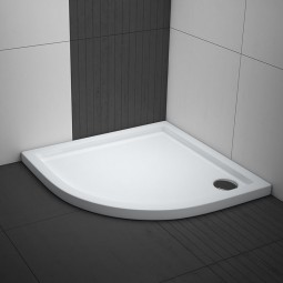Aquabad® Comfort Villa Flat flache Viertelkreis Duschwanne Radius 55 cm