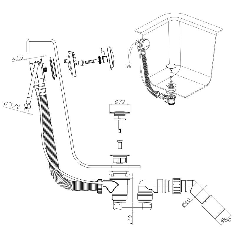 Badewanne Aquabad® PRIMO, 170x75 cm, Komplettset inkl. Träger und CGS-Ablauf mit Wannenbefüllung