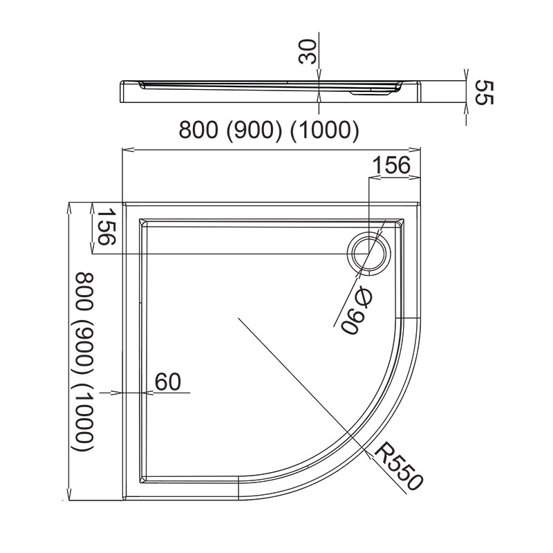 flache duschwanne viertelkreis aquabad 80 90 100 cm. Black Bedroom Furniture Sets. Home Design Ideas